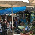 Inside Cafe Bahia's open aired restaurant