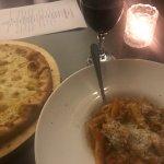 Wine, pasta and garlic bread