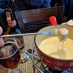 Three Cheese Fondue and Ambrée beer.