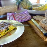 Spanish omelette and home-made bread