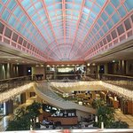 Beautiful glass dome gives a nice luxurious look to the shopping and lobby areas