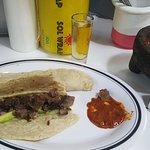 Lion Quesadilla with Mezcal and roja salsa
