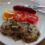 Latkes with Creamy Mushroom Sauce & Kielbasa