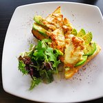 fresh slice avocado, grilled juicy chicken breast&topped with melted cheese on the white toast