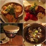 Dinner @ Belgobaren; L-R: Chili Scampi appetizer, Sirloin steak, Moules Marineré, Belgian beer