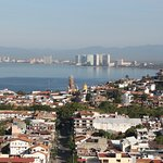 View of Bahia de Banderas and old town