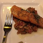 Pan fried salmon on risotto
