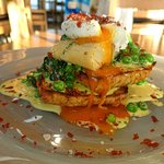 Toasted smoked salmon, cheese and chive soda scone, creamed spinach, peas, chives, poached egg,
