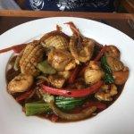 Stir fried chili seafood