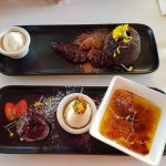 Chocolate pudding and Creme brulee