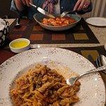 Eliche alla Lina (foreground) and Gnochhi in tomato sauce