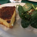 Crab quiche and spinach salas