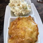 Mac & cheese and potato salad