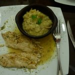 fish with lemon with mushroom risotto