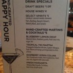 Drink specials for happy hour at the bar