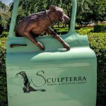 One of many sculptures at the entry to the winery