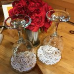 Lovely roses and wine glasses