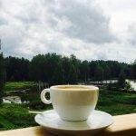 peacefull morning at Ezeri Spa , enjoying my coffee on the balcony