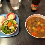 Curry stew with side. Large portion but bland