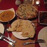 Chicken pasanda, lamb Rogan josh, garlic and peshwari naan and plain rice