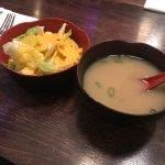 House salad w/ginger dressing & miso soup. $2 & $2.50