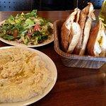 Hummus, salad and bread
