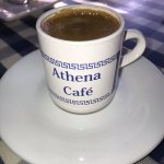 A drink at the Athena cafe