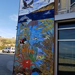 Great mural highlighting the ocean - looks better with sun, sorry