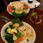 Light Seafood Louie Salad (top) and Parmesan Crusted Cod (below)