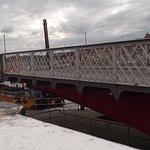 The dredger 'Esk' going through the swing bridge