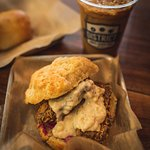 Pork Belly biscuit and Vietnamese Iced Coffee