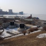 A historical place located on a windy hill in the front of a frozen ( in winter) sea. To be visi