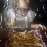 5 year enjoying some chippies at Pontoon