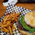 Elk burger with fries, toasted buns which are a must for me with burgers.