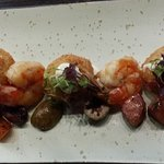 ricotta arancini with tiger prawns