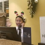 Nikki at the front desk