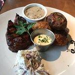 Steak mushroom sauce and fluffy roast potatoes
