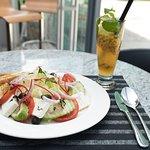Greek salad & Mango passion cocktail