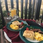 Tasty breakfast delivered to our room & enjoyed on the patio