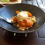Local apricots in a dessert