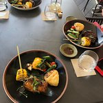 Yellowtail fish and beef