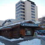 The Anchorage Log Cabin Visitor Information Center, 4th Ave & F St, Anchorage, Alaska.