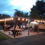 Festoon lit Patio. Perfect for a warm evening!