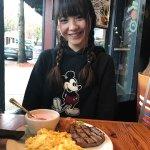 My friend with steak n eggs & yogurt- she ate EVERY BITE!