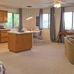 The property is a spacious studio over a garage. Plus a bonus room.