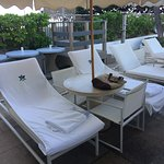 Loungers and umbrella