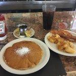 A Pancake, Home Fries, Bacon and A Coke