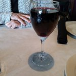 A full glass of wine at DeNunzios