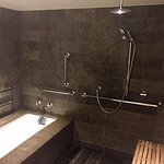 Breathtaking spa bathroom with deep soaking tub in junior suite.