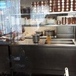 Kitchen view through glass partition